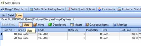 sales orders - lists